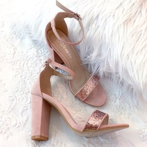 Shoes - Rose Gold Glitter Block Pink Ankle Strap Heels 7